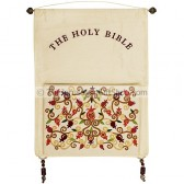Embroidered Silk 'Bible Pouch' Pomegranate Wall Hanging