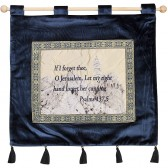 'If I Forget Thee O Jerusalem' - Psalm 137:5 - Tower of David - Wall Hanging - Blue