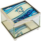 Glass Trinket Box with an Israeli Flag