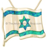 Israeli Flag Wavy Pendant in Sterling Silver and Opal