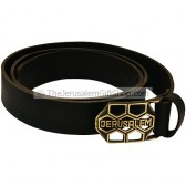 Camel Black Leather Jerusalem Belt