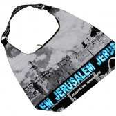 Kotel - Western Wall Canvas Hobo Bag - Jerusalem - Blue Foil - Zipper