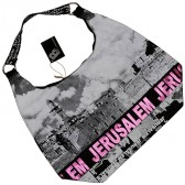 Kotel - Western Wall Canvas Hobo Bag - Jerusalem - Purple Foil - Zipper
