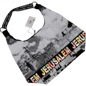 Kotel - Western Wall Canvas Hobo Bag - Jerusalem - Colorful Foil - Zipper