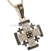 'Jerusalem Cross' Squared Pendant with Marcasite