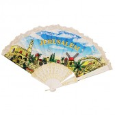Jerusalem 'Hand Fan' Holy Land Souvenir - White