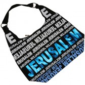 Canvas Hobo Bag - Jerusalem - Blue Foil - Zipper