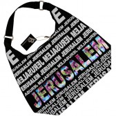 Canvas Hobo Bag - Jerusalem - Rainbow Foil - Zipper