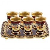 Jeweled Jerusalem Cups on Matching Tray