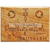 Olive Wood Magnet - Jerusalem Messianic