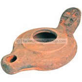 Replica Clay Oil Lamp - Jerusalem Cross Byzantine