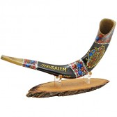 Ram's Decorated Shofar By Artist Sarit Romano - Old City of Jerusalem and the word 'Jerusalem' - Earth