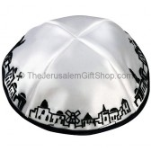 White with Black trim Jerusalem Panorama Kippah