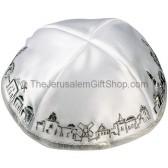 White with Silver trim Jerusalem Panorama Kippah