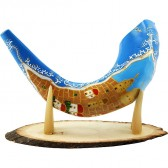 Ram's Decorated Shofar By Artist Sarit Romano - Old City of Jerusalem and Her Walls - Blue
