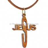 Olive Wood Jesus Cross Necklace