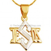 Jesus Star of David Two Tone Gold Fill Pendant