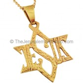 Jesus Star of David 14kt Gold Pendant
