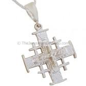 'Jerusalem Cross' 3D Pendant with Etched Star Design