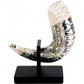 Silver Jerusalem Rams Shofar with Stand - White