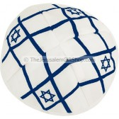 Star David White and Blue Kippa