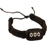 Leather Button 'Star of David' Bracelet