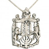 Lion of Judah Rhodium CZ Menorah Ten Commandments & Crown Pendant