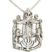 Lion of Judah Rhodium CZ Menorah Ten Commandments & Crown Pendant