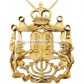 Lion of Judah 14kt Gold Menorah Ten Commandments Crown Pendant