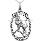 Lion of Judah Sterling Silver Hebrew Pendant