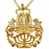 Lion of Judah 14kt Gold Menorah Torah Pendant