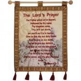 The Lord's Prayer - Jerusalem Wall Hanging - Matthew 6 - Tower of David - Burgundy