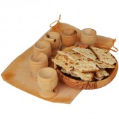 The Lord's Supper - Olive Wood Bread Tray with Six Olive Wood Cups in Gift Bag