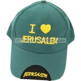 Baseball Cap - I Love Jerusalem - Green