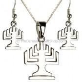 Menorah Pendant and Earring set