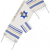 YESHUA Messianic Prayer Shawl Scripture Talit with 'Grafted In' - Blue and Gold