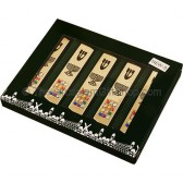 Boxed Set of Five Mezuzah with Hoshen and Menorah