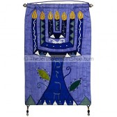 'Mizrach' Menorah blue Silk Wall Banner by Yair Emanuel