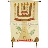'Mizrach' Menorah off-white Silk Wall Banner by Yair Emanuel