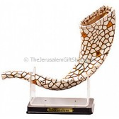 Decorative Mosaic Shofar on Stand - Gold