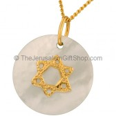 Gold Fill Star of David on Mother of Pearl Pendant