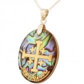 Mother of Pearl Abalone with Metallic Gold 'Jerusalem Cross' with 'Jerusalem' Pendant