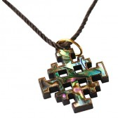 Olive Wood 'Jerusalem Cross' Pendant with Mother Pearl Abalone inlay
