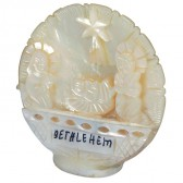 Mother of Pearl Nativity Scene on round Mother of Pearl Shell - Made in Bethlehem - 2.5 inch