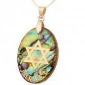 Mother of Pearl Abalone with Metallic Gold 'Star of David' Israel Pendant
