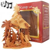Boxed Musical Olive Wood Nativity from Bethlehem - Silent Night - Star