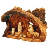 Olive Wood Tree Trunk Nativity Scene | Fixed Pieces Set Hand Carved in Bethlehem | Faceless Figurines 10 inch