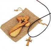 Olive Wood Comfort Cross from Bethlehem with 'Holy Spirit Dove' Cutout in Sackcloth Bag + Matching Olive Wood Pendant