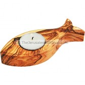 Olive Wood Fish Candle Holder