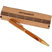 Olive Wood Ballpoint Pen from Bethlehem in Display Box